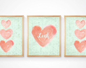 Coral and Mint Nursery Decor, 8x10 Set of 3, Peach and Mint Nursery Art, Coral and Mint Girls Wall Decor, Coral and Mint Wall Decor,