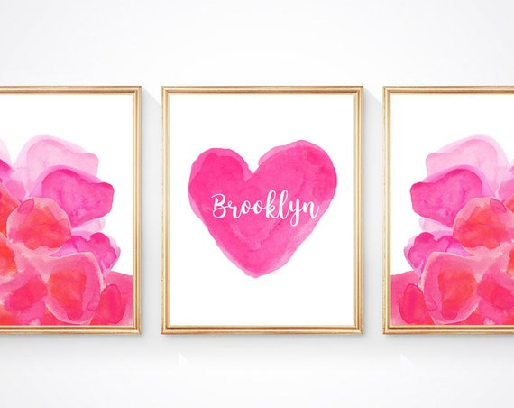 Modern Watercolor Print Set for Girls, Set of 3 Hot Pink Watercolor Flowers and Personalized Heart
