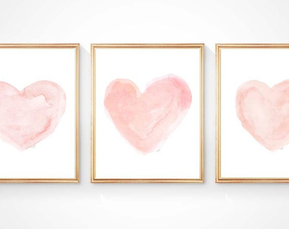Blushing Hearts Nursery Prints, 5x7, 8x10 Set of 3 Watercolor Prints