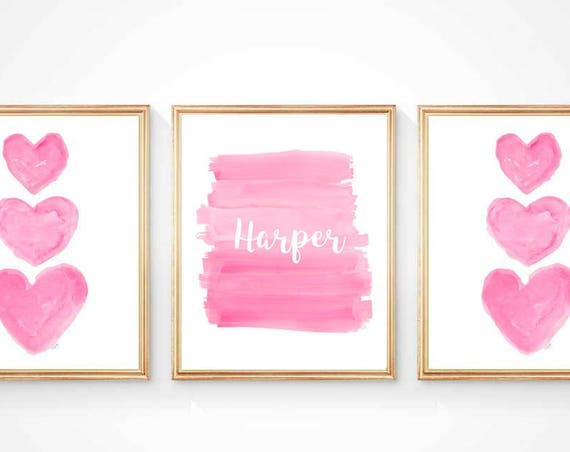 Hot Pink Children's Art, Set of 3 - 8x10 Personalized Girls Prints
