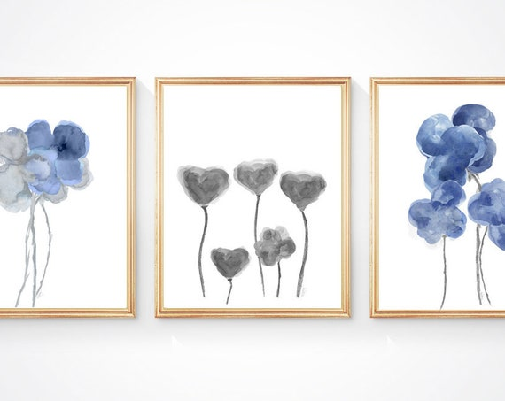 Blue and Gray Flower Prints, Set of 3-8x10 Contemporary Watercolor Prints