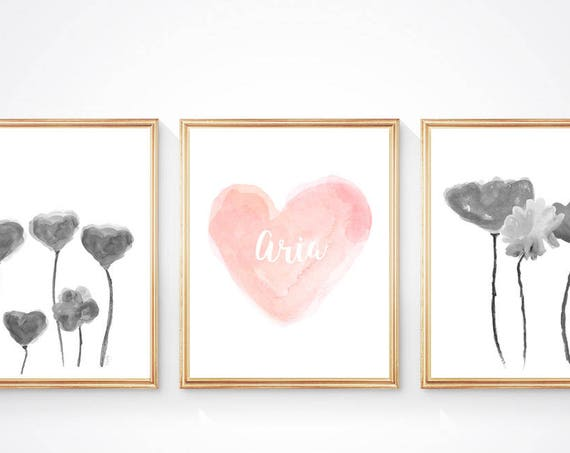 Black and Blush Girls Room, Set of 3-8x10 Watercolor Prints