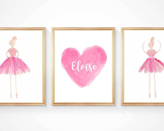 Personalized Ballet Gift, Set of 3 - 8x10 Ballerina Prints with Custom Name