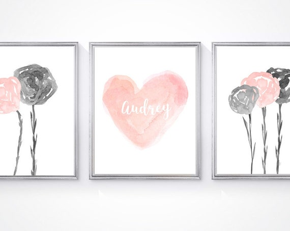 Blush and Gray Girls Room, Set of 3-8x10 Watercolor Flower and Heart Prints
