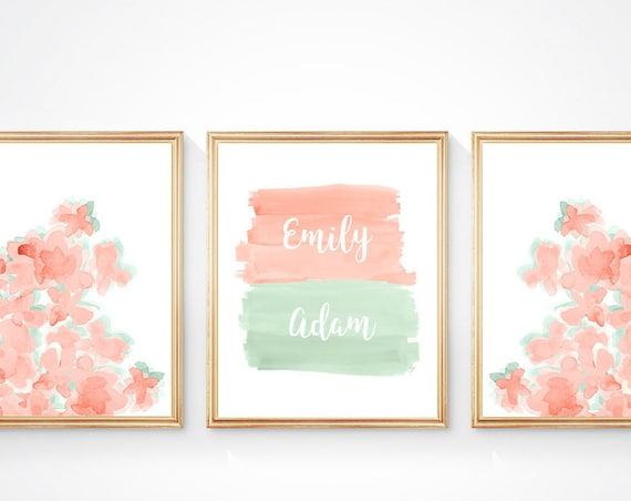 Peach and Mint Nursery Art, 8x10 Set of 3 Watercolor Prints