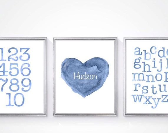 Baby Boy Nursery Prints, ABC, 123 and Personalized Heart with Name, Set of 3 - 8x10