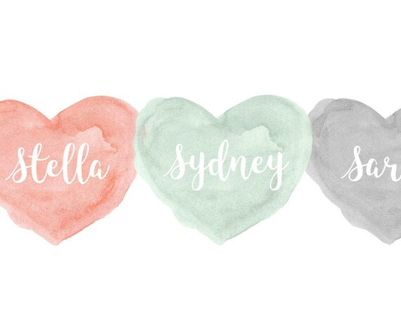 Coral, Mint and Gray Print for Siblings, 8x10 Personalized Hearts