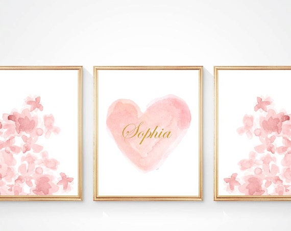 Blush Artwork for Girls Room, 8x10-Set of 3 Prints Personalized with Gold Name