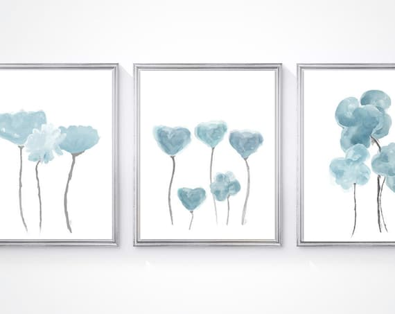 Blue Gray Flower Prints, 8x10- Set of 3 Watercolor Art Prints