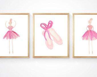 Ballerina Nursery Decor, Set of 3, Ballerina Prints, Girls Ballet Print, Pink Ballerina Decor, Ballet Watercolor, Blush Pink Ballerina Gift