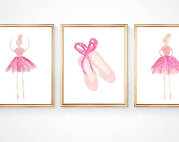 Ballerina and Ballet Slippers Prints with Custom Name, Set of 3