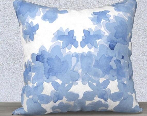 """Blue Floral Pillow Cover in Velvet, 14""""x20"""", 18""""x 18"""""""