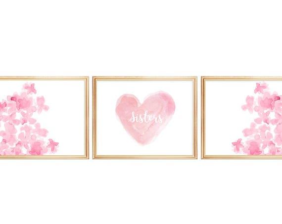 Pink Sisters Prints, 11x14 Set of 3 Watercolor Prints