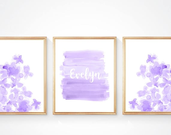 Lavender Flower Prints with Personalized Heart, Set of 3- 8x10