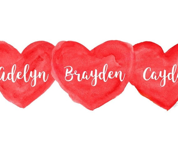 Triplets Valentine's Gift, Personalized Red Heart Print in 8x10