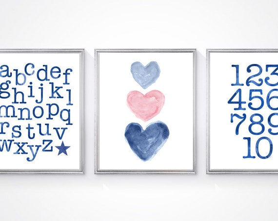 Pink and Navy Wall Decor, 8x10 Set of 3 Kids Prints