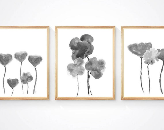 Gray Flower Print Set, Set of 3- 11x14 Watercolor Art Prints