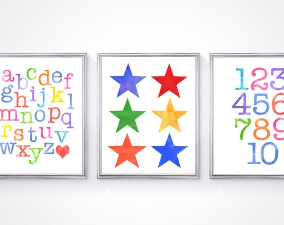 Playroom Learing Prints, Set of 3-8x10 ABC 123