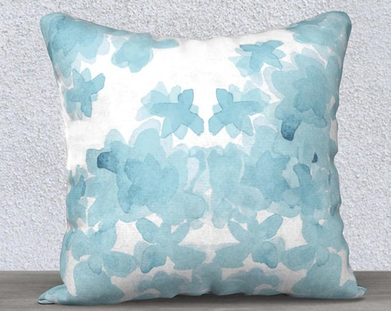 "Aqua Velvet Pillow Cover for Girls Room, 14""x20"" 18""x18"""