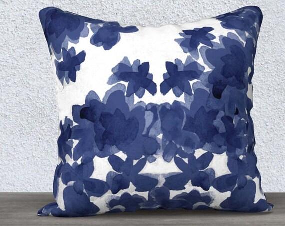 """Indigo Floral Pillow Cover, 14""""x20"""", 18""""x18"""""""