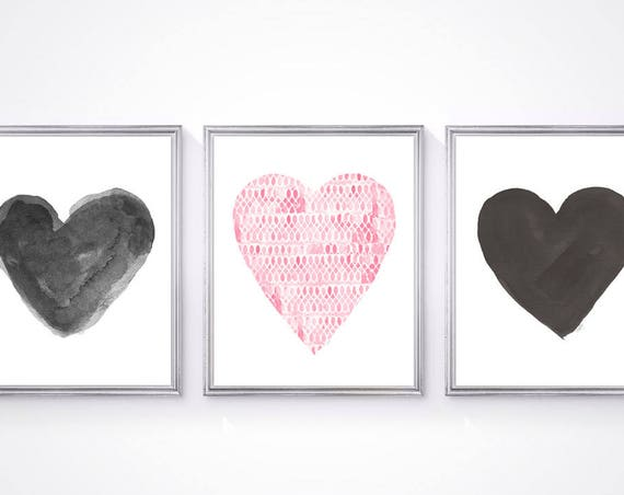 Pink and Black Wall Decor, Set of 3 - 8x10 Heart Prints