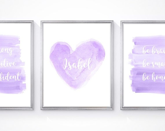 Girl Power Artwork, 8x10 Set of 3 Inspirational Quotes for Girls Room