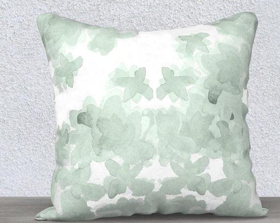 """Mint Floral Velvet Pillow Cover for Girls Room, 14""""x20"""", 18""""x18"""""""