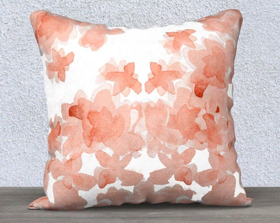 "Coral Girls Pillow in Velvet with Flowers, 14""x20"", 18""x18"""