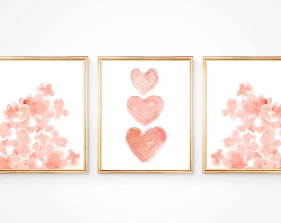 Nursery Gallery Wall with Flowers and Hearts; Set of 3 Prints