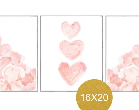 Blush Flowers Prints, 16x20 Set of 3