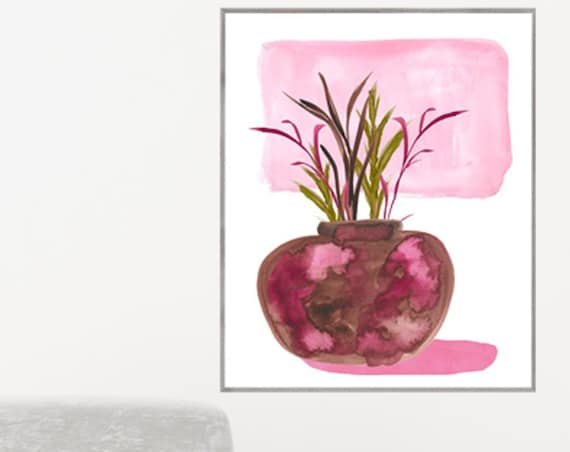 Hot Pink Contemporary Still Life Print, 11x14, 12x16, 16x20, 18x24