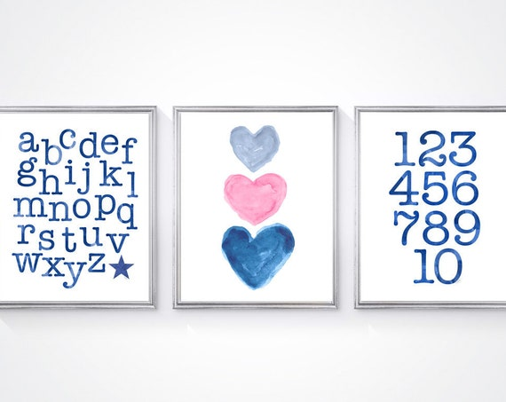 Pink and Navy Playroom Prints, 11x14 Set of 3 Alphabet and Number Prints