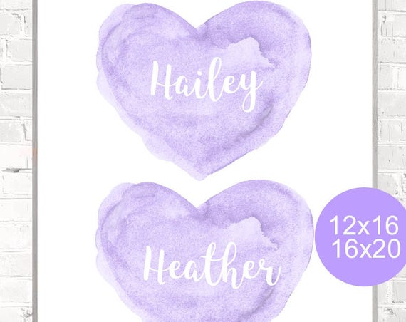 Lavender Girls Room, 12x16, 16x20, Lavender Hearts Poster with Custom Name