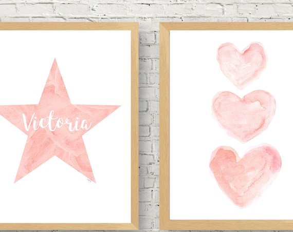 Blush Star and Hearts, 11x14 set of 2 Personalized Prints