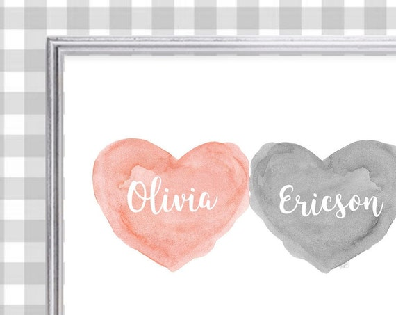 Coral and Gray Nursery Art, Boy Girl Twins, Personalized Nursery Print, Boy Girl Room, Coral and Gray Nursery Decor, Peach and Gray Print