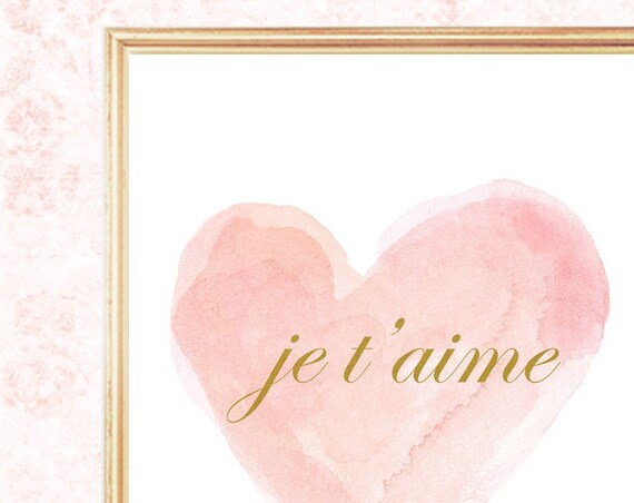 Blush and Gold Je t'aime Girls Print, 8x10