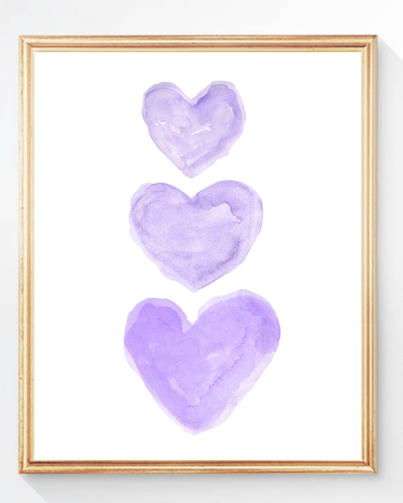 Sweet Purple Heart Trio Nursery Print, 5x7,  8x10