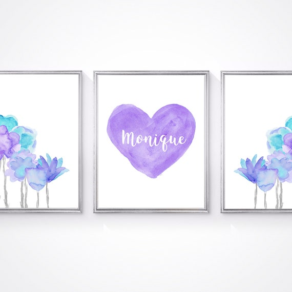 Purple and Turquoise Girls Prints for Bedroom, 8x10