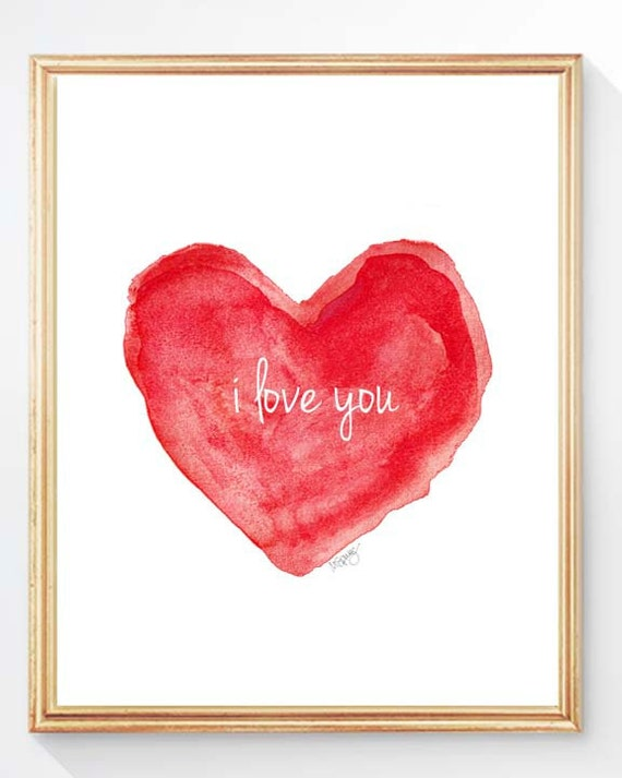 Red I Love You Heart Print, 8x10 Watercolor
