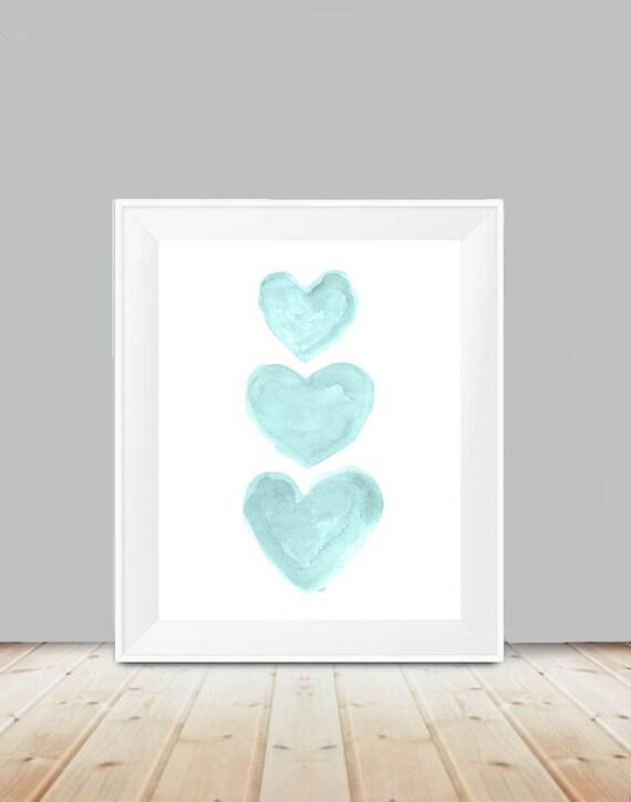 Aqua Heart Trio Print, 11x14
