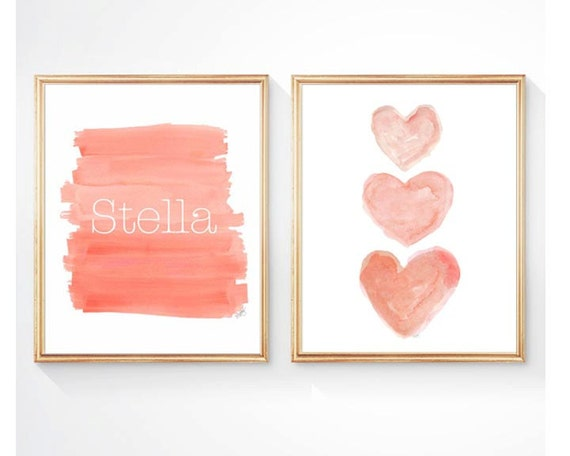 Personalized Coral Prints for Girls, Set of 2 - 8 x 10 Ombre and Hearts