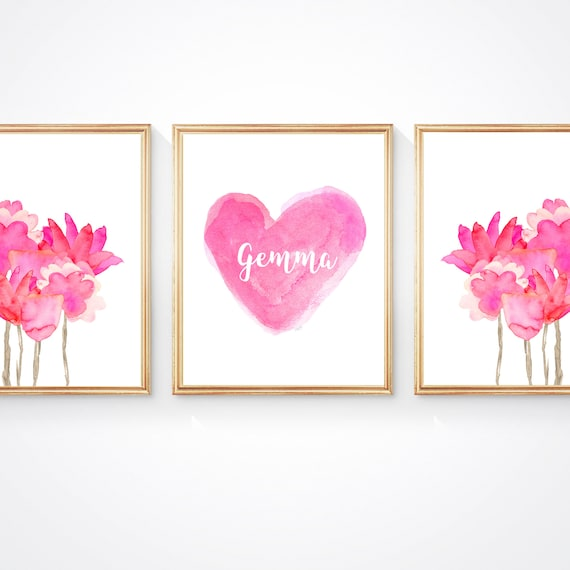 Hot Pink Flower Prints for Girls Bedroom with Personalized Heart,  Set of 3-8x10