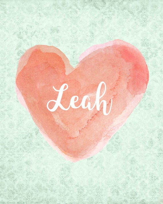 Coral and Mint Personalized Print for Girls, 8x10 Watercolor Heart