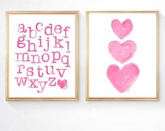 Hot Pink Nursery Decor, Alphabet Art, ABC Print, Pink ABC Art, Pink Nursery Set of 2 - 8x10, Heart Art, Playroom Decor, Hot Pink Kids Decor,