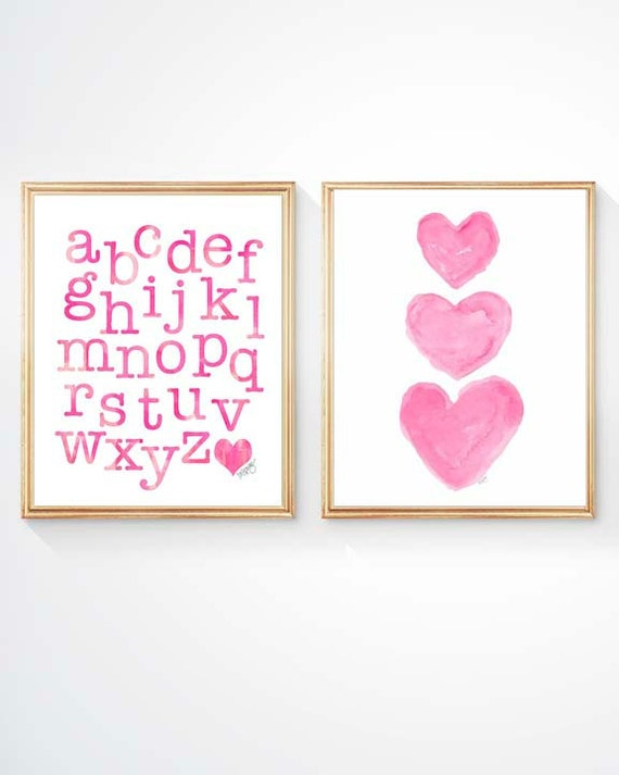Hot Pink Playroom Prints, Set of 2 - 8x10, ABC and Heart