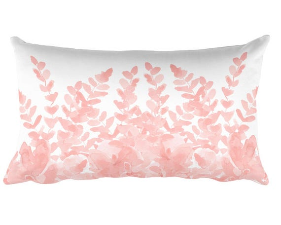 Blush Pillow with Ferns, 12x20