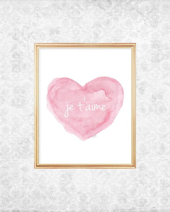 New Baby Gift, Je t'aime French Nursery Print 5x7, 8x10