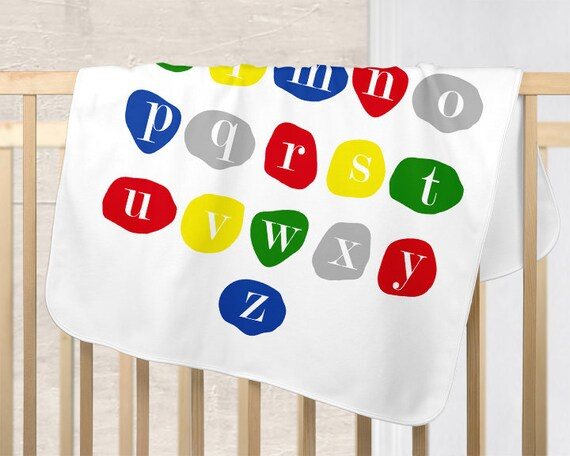 Kids Primary Colors Blanket for Playroom with ABC's