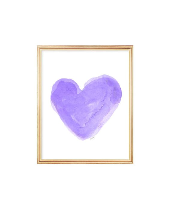 Purple Girl's Decor, 5x7, 8x10 Watercolor Heart Print