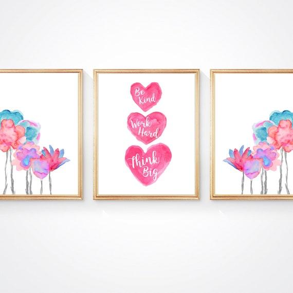 Bright Flower Prints for Girls Boho Bedroom; Set of 3